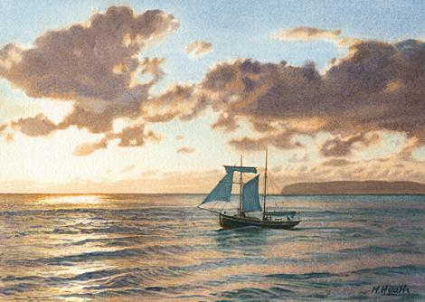 A painting of topsail schooner 'Vilma' setting off past Black Point, Anglesey, Wales at sunrise by Margaret Heath.
