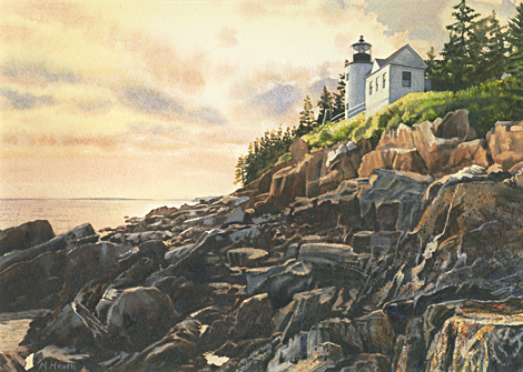A painting of Bass Harbor Light, Maine at sunset by Margaret Heath.
