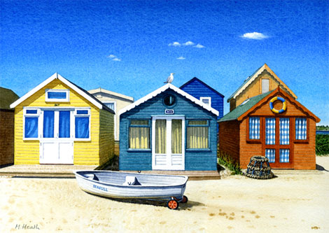 A painting of beach huts and Seagull at Mudeford sandspit, Dorset by Margaret Heath.
