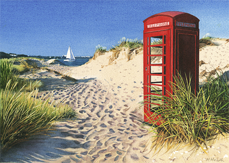 A painting of a telephone kiosk in the sand dunes at Shell Bay, Dorset by Margaret Heath.