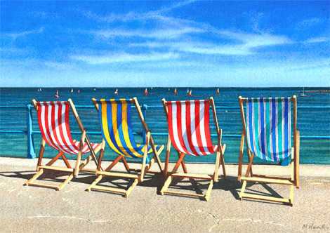 A painting of deck chairs beside the seaside at Lyme Regis, Dorset by Margaret Heath.