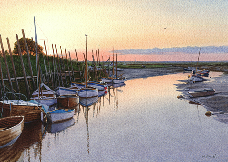A painting of boats moored at Blakeney, Norfolk at sunset by Margaret Heath.