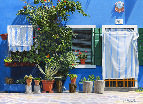 An oil painting of a blue house on Burano, Venice, Italy by Margaret Heath.
