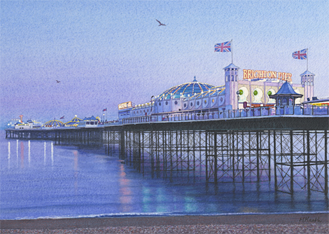 A painting of Brighton Pier at dusk by Margaret Heath.