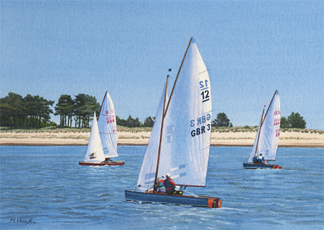 A watercolour painting of British Sharpies off to race at Wells-Next-the-Sea by Margaret Heath RSMA.
