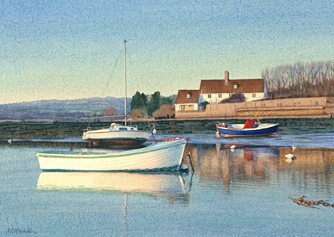 A painting of boats moored at Bosham, West Sussex on a calm evening by Margaret Heath.