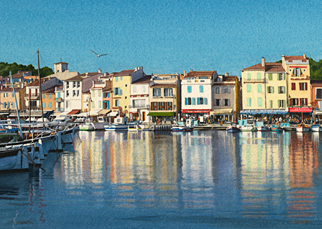 A watercolour painting of Cassis Harbour, France on a summer evening by Margaret Heath RSMA.