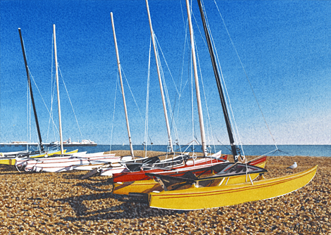 A painting of catamarans on Brighton beach by Margaret Heath.