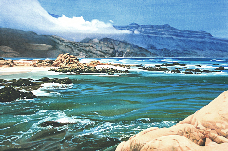 A painting of a coastal scene in Oman by Margaret Heath commissioned by the Sultan of Oman.