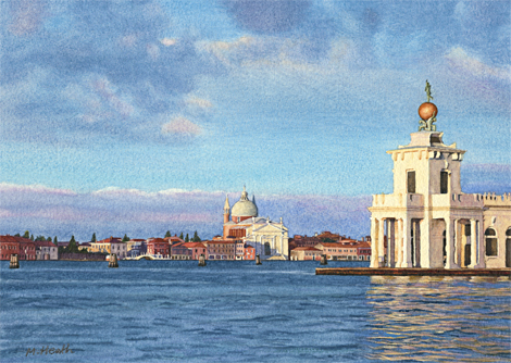 A painting of the Dogana and island of Giudecca, Venice, Italy at dawn by Margaret Heath.
