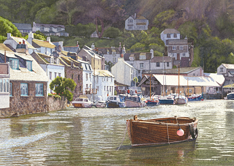 A painting of Polperro Harbour in the early morning by Margaret Heath.