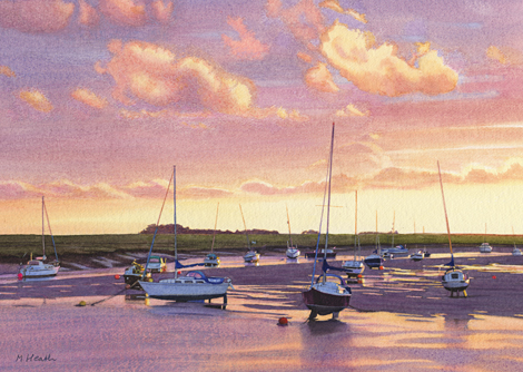 A watercolour painting of Wells  Harbour at sunrise by Margaret Heath RSMA.