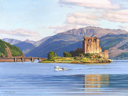 An oil painting of Eilean Donan Castle, Scotland at sunset by Margaret