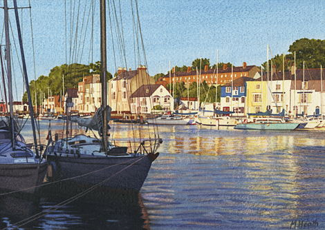 A painting of boats moored in Weymouth harbour, Dorset in the evening by Margaret Heath.