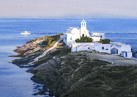 A painting of Chryssopigi Monastery, Sifnos, Greece at sunset by Margaret Heath.