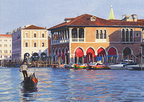 A painting of the Pescheria and a gondola on the Grand Canal, Venice, Italy in evening light by Margaret Heath.