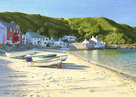 painting of evening shadows at Porth Dinllaen, Wales by Margaret ...