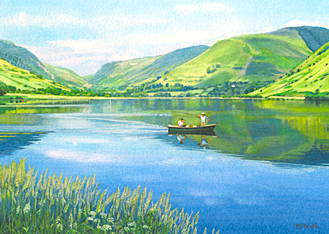 A watercolour painting of two men fishing from a boat on Tal-y-Llyn, Wales by Margaret Heath RSMA.