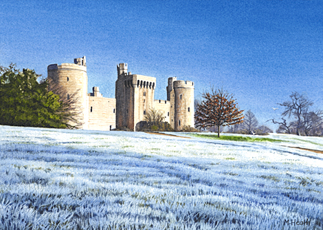 A watercolour painting of Bodiam Castle, Sussex on a frosty morning by Margaret Heath.