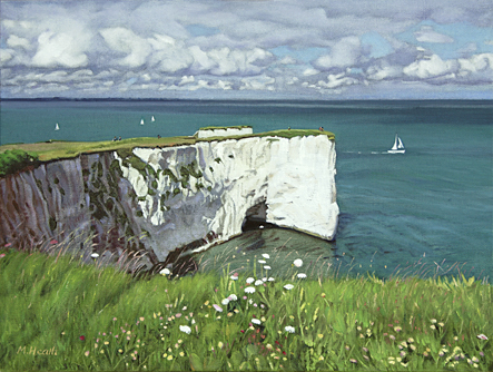 A painting of Handfast Point cliffs in Dorset by Margaret Heath.