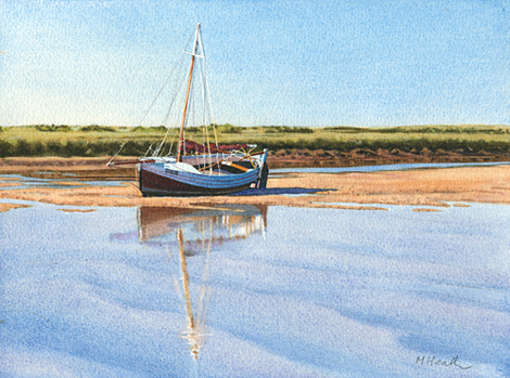 A painting of Isabel, a yacht moored at low tide at Burnham Overy Staithe, Norfolk by Margaret Heath.