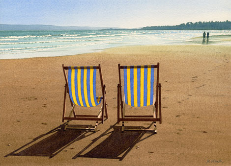 A painting of deck chairs on the beach at Bournemouth, Dorset in late afternoon by Margaret Heath.