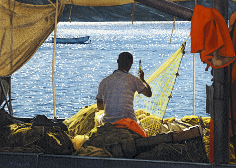 A painting of a young Greek fisherman mending nets on a fishing boat in Faros Harbour, Sifnos by Margaret Heath.