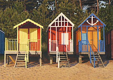 A painting of three beach huts at Wells-Next-the-Sea, Norfolk in the early morning by Margaret Heath.