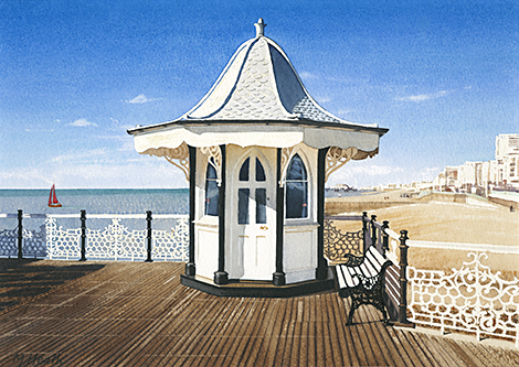 A painting of an old kiosk on Brighton Pier, Sussex by Margaret Heath.