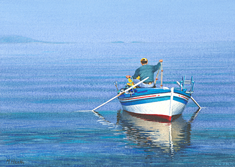 'Out of the Blue' Painted by Margaret Heath RSMA