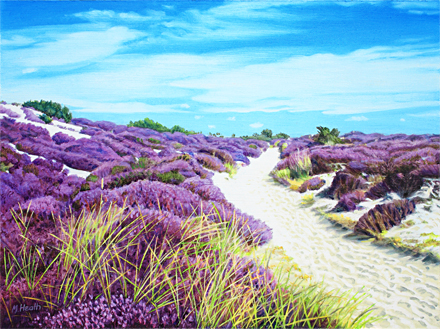 An oil painting of a path through the dunes at Studland, Dorset by Margaret Heath.