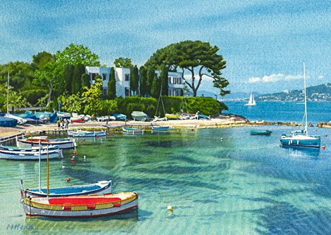 A watercolour painting of Port de l'Olivette, Cap d'Antibes, France by Margaret Heath RSMA.