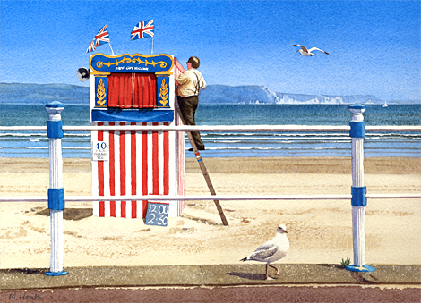 A painting of the Punch and Judy man on Weymouth beach, Dorset by Margaret Heath.
