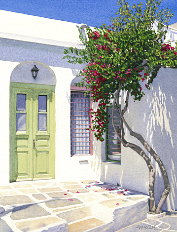 A painting of a flowering tree outside a doorway in Apollonia, Sifnos, Greece by Margaret Heath.