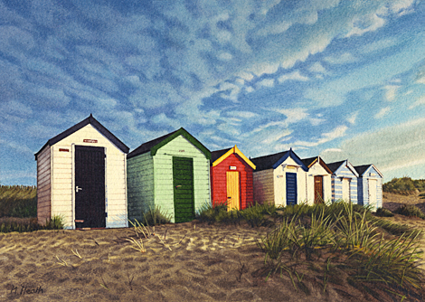A painting of beach huts on Southwold beach, Suffolk at sunrise by Margaret Heath.