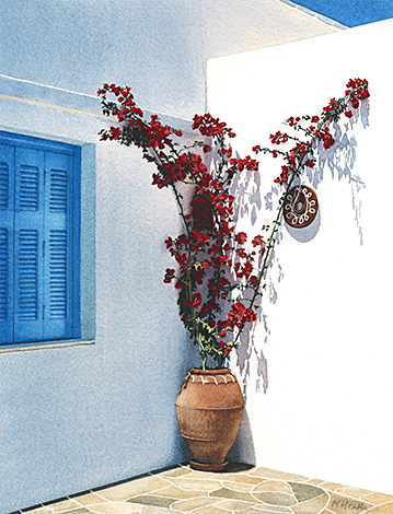 A painting of a potted plant in a courtyard in Apollonia, Sifnos, Greece by Margaret Heath.