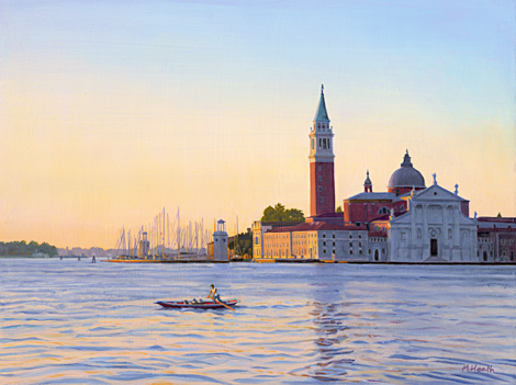 An oil painting of San Giorgio Maggiore across the Lagoon in Venice, Italy at sunrise by Margaret Heath.