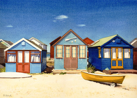 A painting of beach huts at Mudeford sandspit, Dorset by Margaret Heath.