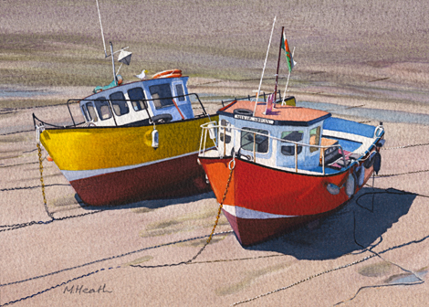 A watercolour painting of two fishing boats waiting for the tide in Tenby Harbour by Margaret Heath RSMA.