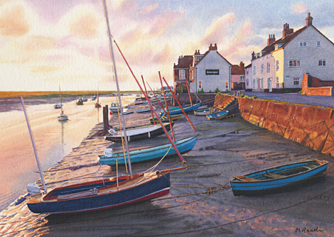 A watercolour painting of Wells Quay at the first light of the day by Margaret Heath RSMA.