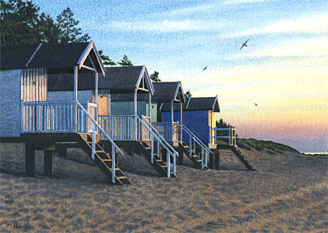 A painting of beach huts at dusk at Wells-next-the-Sea, Norfolk by Margaret Heath.