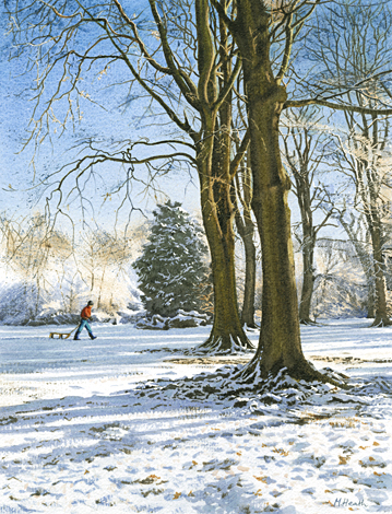 A watercolour painting of winter woodland, Box Hill, Surrey by Margaret Heath.