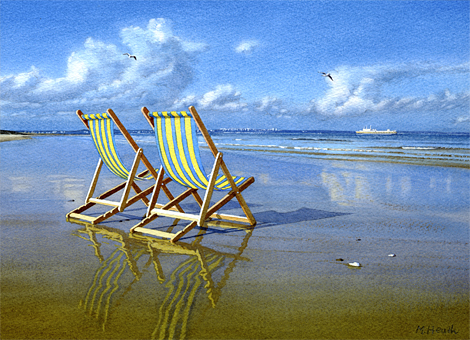 A painting of deck chairs on Studland Beach, Dorset in late afternoon by Margaret Heath.
