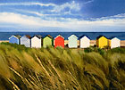 A painting of beach huts at Southwold, Suffolk by Margaret Heath.