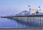 A painting of Brighton Pier, Sussex at dusk by Margaret Heath.