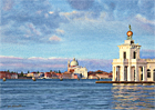 A watercolour painting of the Dogana and island of Giudecca at dawn by Margaret Heath RSMA.