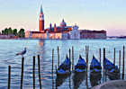 A watercolour painting of San Giorgio Maggiore, gondolas and seagull at dawn, Venice by Margaret Heath RSMA.