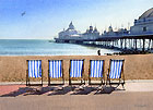 painting of by deck chairs on the seafront and Eastbourne Pier by