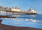 A painting of Eastbourne Pier in evening light by Margaret Heath.