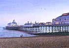 A painting of Eastbourne pier at twilight by Margaret Heath./0